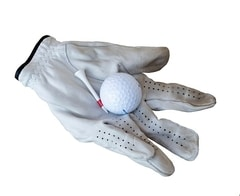 Golf Glove holding golf ball and golf tee