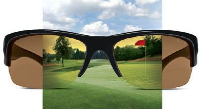 golf course as seen through golf sunglasses